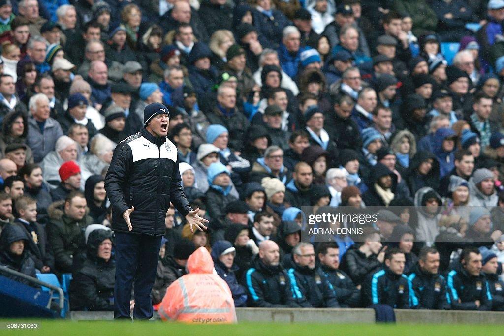 Leicester City's Italian manager Claudio Ranieri shouts instructions to his players from the touchline during the English Premier League football match between Manchester City and Leicester City at the Etihad Stadium in Manchester, north west England, on February 6, 2016. / AFP / ADRIAN DENNIS / RESTRICTED TO EDITORIAL USE. No use with unauthorized audio, video, data, fixture lists, club/league logos or 'live' services. Online in-match use limited to 75 images, no video emulation. No use in betting, games or single club/league/player publications. /