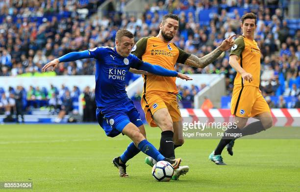 Leicester City's Jamie Vardy and Brighton Hove Albion's Shane Duffy in action during the Premier League match at the King Power Stadium Leicester