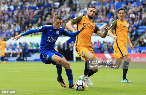 Leicester City's Jamie Vardy and Brighton Hove Albion's Shane Duffy battle for the ball during the Premier League match at the King Power Stadium...