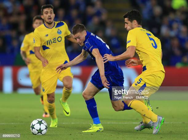 Leicester City's Jamie Vardy and FC Porto's Ivan Marcano battle for the ball