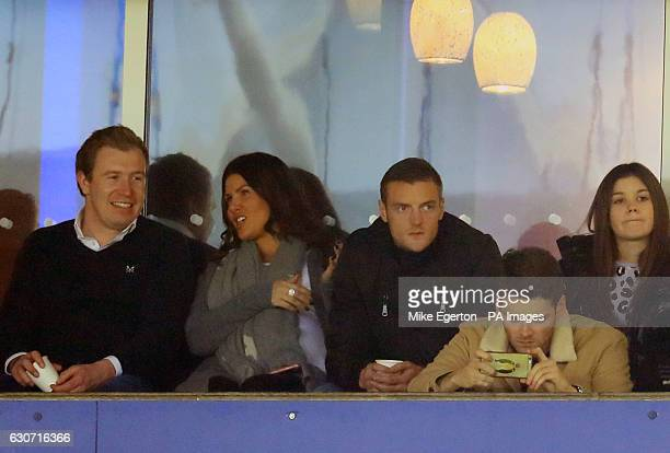 Leicester City's Jamie Vardy and wife Rebekah watch from the stands during the Premier League match at the King Power Stadium Leicester