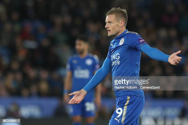 Leicester City's Jamie Vardy appeals for a penalty during the Premier League match between Leicester City and West Bromwich Albion at The King Power...