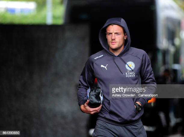 Leicester City's Jamie Vardy arrives at the liberty stadium during the Premier League match between Swansea City and Leicester City at Liberty...