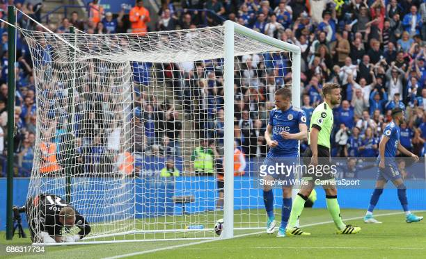 Leicester City's Jamie Vardy celebrates scoring his sides first goal during the Premier League match between Leicester City and AFC Bournemouth at...