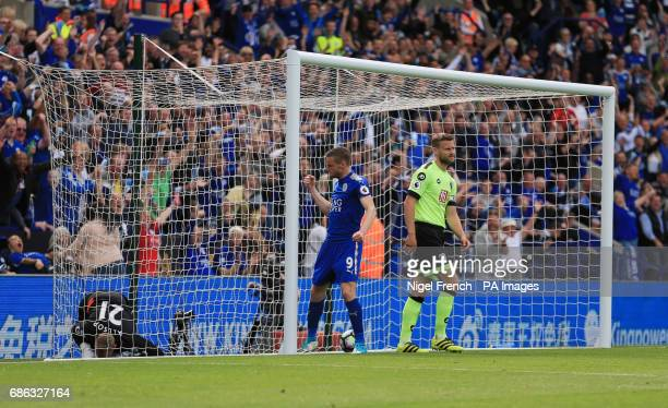 Leicester City's Jamie Vardy celebrates scoring his side's first goal of the game during the Premier League match at the King Power Stadium Leicester