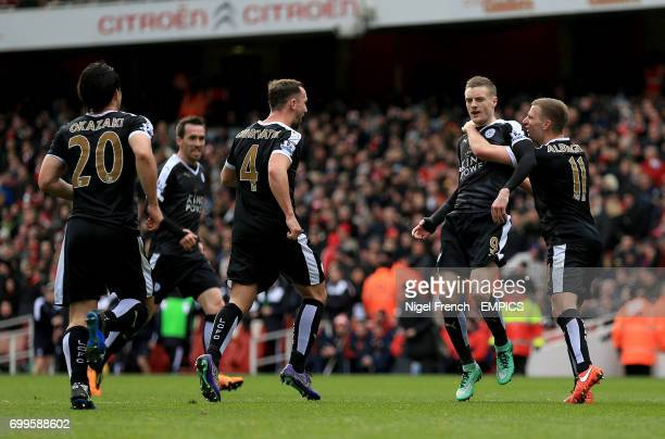 Leicester City's Jamie Vardy celebrates scoring his side's first goal of the game with teammate Leicester City's Marc Albrighton