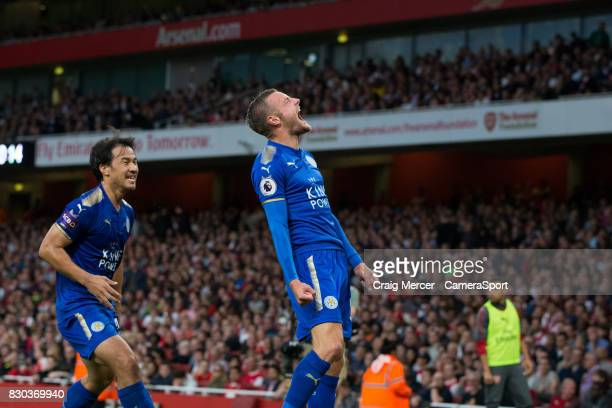 Leicester City's Jamie Vardy celebrates scoring his sides second goal during the Premier League match between Arsenal and Leicester City at Emirates...