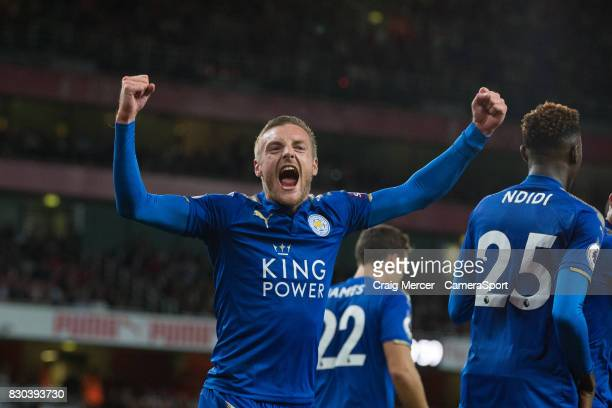 Leicester City's Jamie Vardy celebrates scoring his sides third goal during the Premier League match between Arsenal and Leicester City at Emirates...