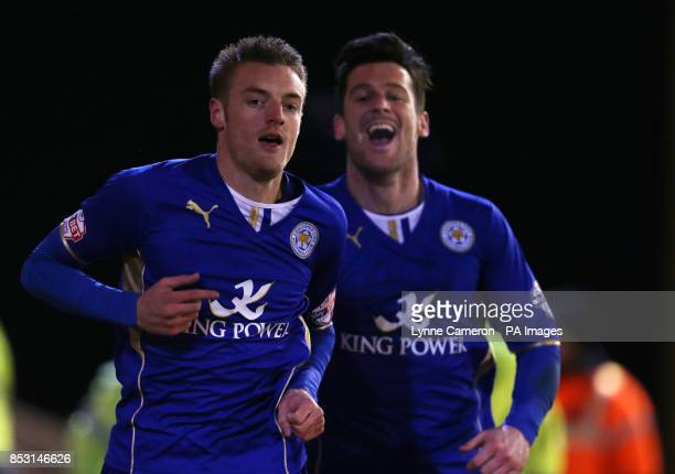 Leicester City's Jamie Vardy celebrates scoring the third goal with Matty James during the Sky Bet Championship match at Oakwell Barnsley