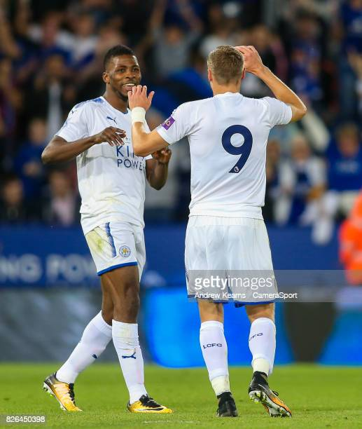 Leicester City's Jamie Vardy celebrates with team mate Leicester City's Kelechi Iheanacho after scoring his side's second goal during the preseason...