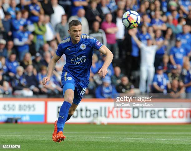 Leicester City's Jamie Vardy during the Premier League match between AFC Bournemouth and Leicester City at Vitality Stadium on September 30 2017 in...