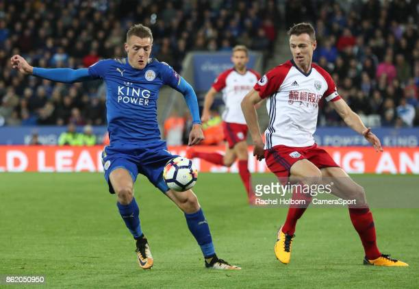 Leicester City's Jamie Vardy during the Premier League match between Leicester City and West Bromwich Albion at The King Power Stadium on October 16...