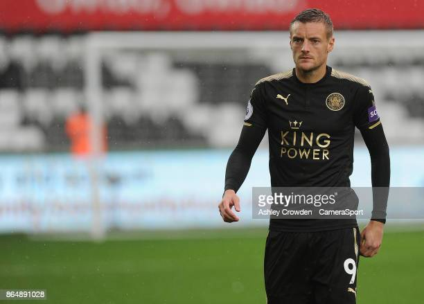 Leicester City's Jamie Vardy during the Premier League match between Swansea City and Leicester City at Liberty Stadium on October 21 2017 in Swansea...