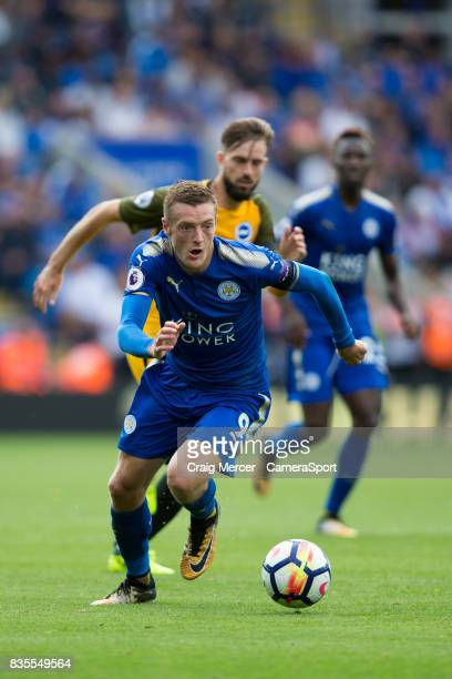 Leicester City's Jamie Vardy in action during the Premier League match between Leicester City and Brighton and Hove Albion at The King Power Stadium...