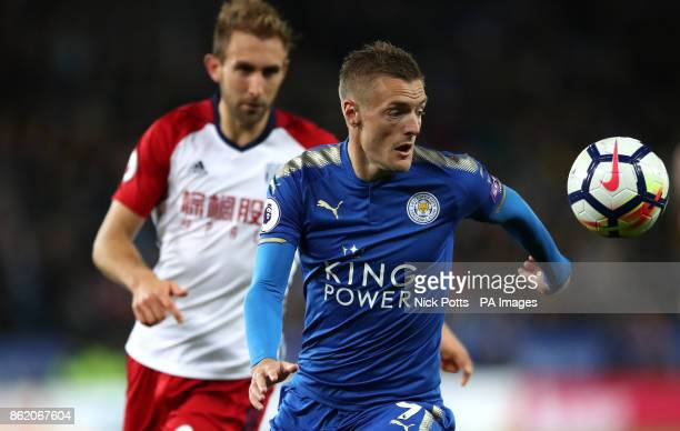 Leicester City's Jamie Vardy in action during the Premier League match at the King Power Stadium Leicester