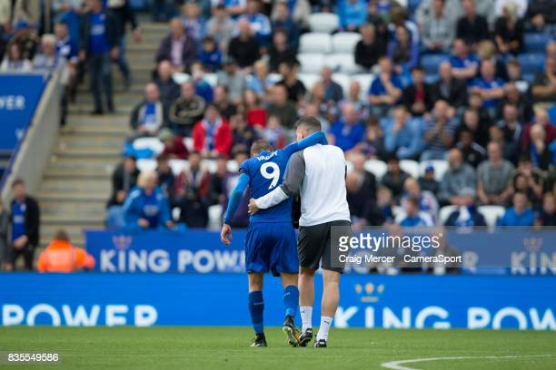 Leicester City's Jamie Vardy is helped off with an injury during the Premier League match between Leicester City and Brighton and Hove Albion at The...