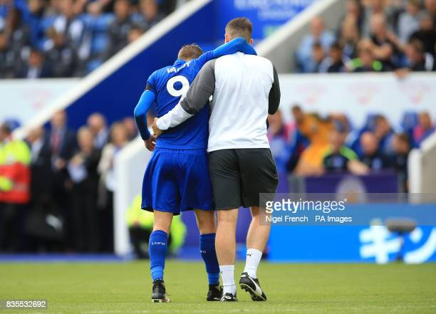 Leicester City's Jamie Vardy leaves the field with an injury during the Premier League match at the King Power Stadium Leicester