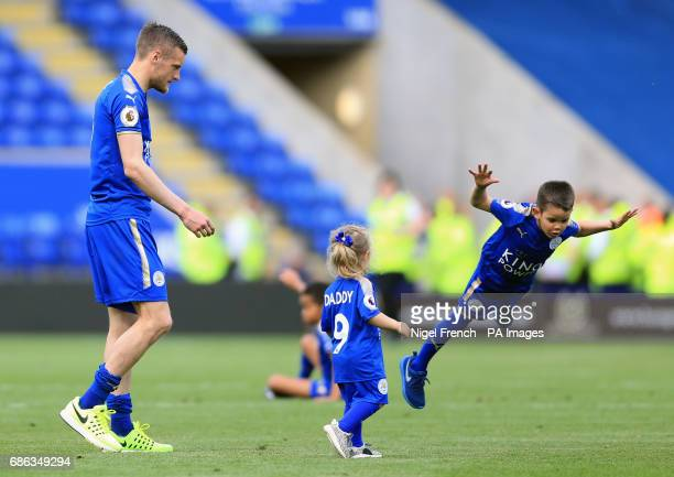 Leicester City's Jamie Vardy on the pitch after the Premier League match at the King Power Stadium Leicester