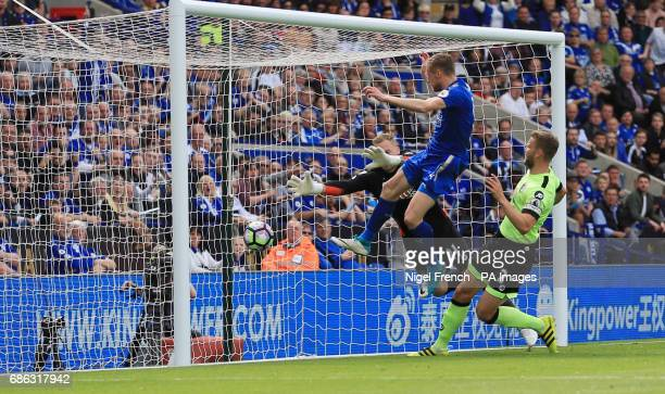 Leicester City's Jamie Vardy scores his side's first goal of the game during the Premier League match at the King Power Stadium Leicester