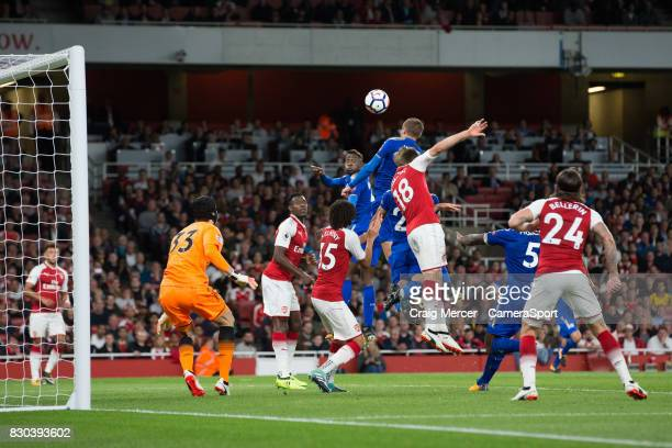 Leicester City's Jamie Vardy scores his sides third goal during the Premier League match between Arsenal and Leicester City at Emirates Stadium on...