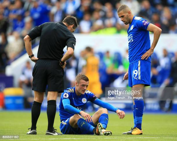 Leicester City's Jamie Vardy sits injured during the Premier League match at the King Power Stadium Leicester