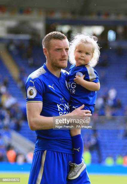 Leicester City's Jamie Vardy with family on the pitch after the Premier League match at the King Power Stadium Leicester