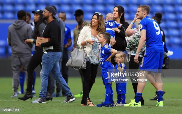 Leicester City's Jamie Vardy with wife Rebekah and family on the pitch after the Premier League match at the King Power Stadium Leicester