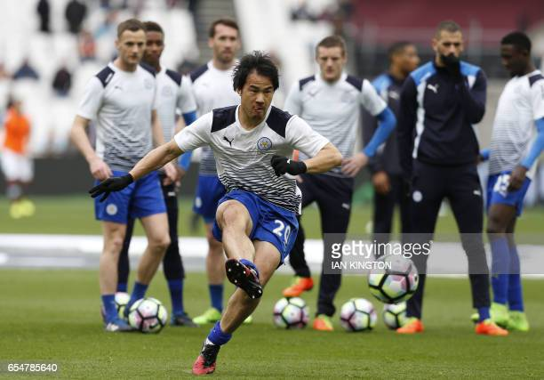 Leicester City's Japanese striker Shinji Okazaki warms up before the English Premier League football match between West Ham United and Leicester City...