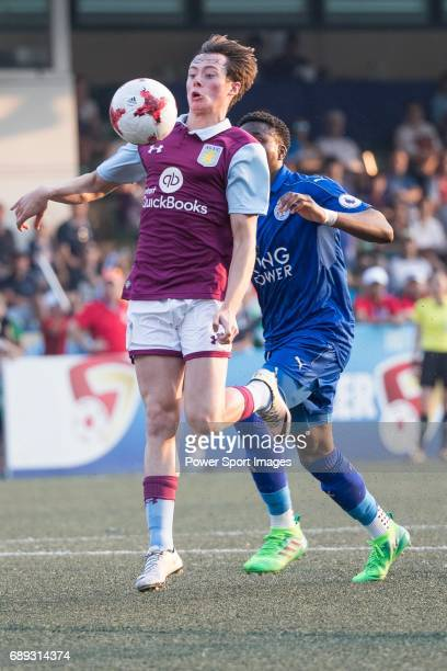 Leicester City's Joshua Gordon competes with Aston Villa's Harry Mckirdy for a ball during their Main Tournament Cup Final match part of the HKFC...
