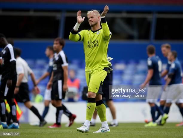 Leicester City's Kasper Schmeichel applauds the fans