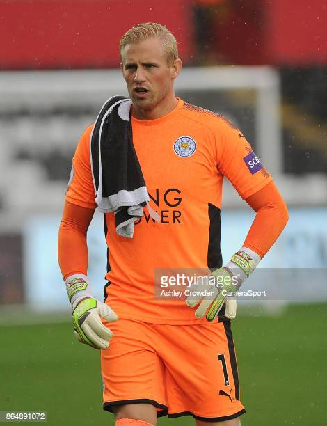 Leicester City's Kasper Schmeichel during the Premier League match between Swansea City and Leicester City at Liberty Stadium on October 21 2017 in...