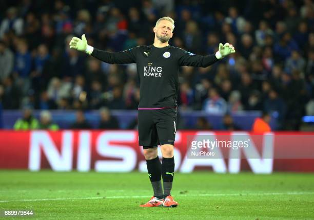 Leicester City's Kasper Schmeichel during UEFA Champions League QuarterFinals match between Leicester City and Atletico Madrid at King Power Stadium...