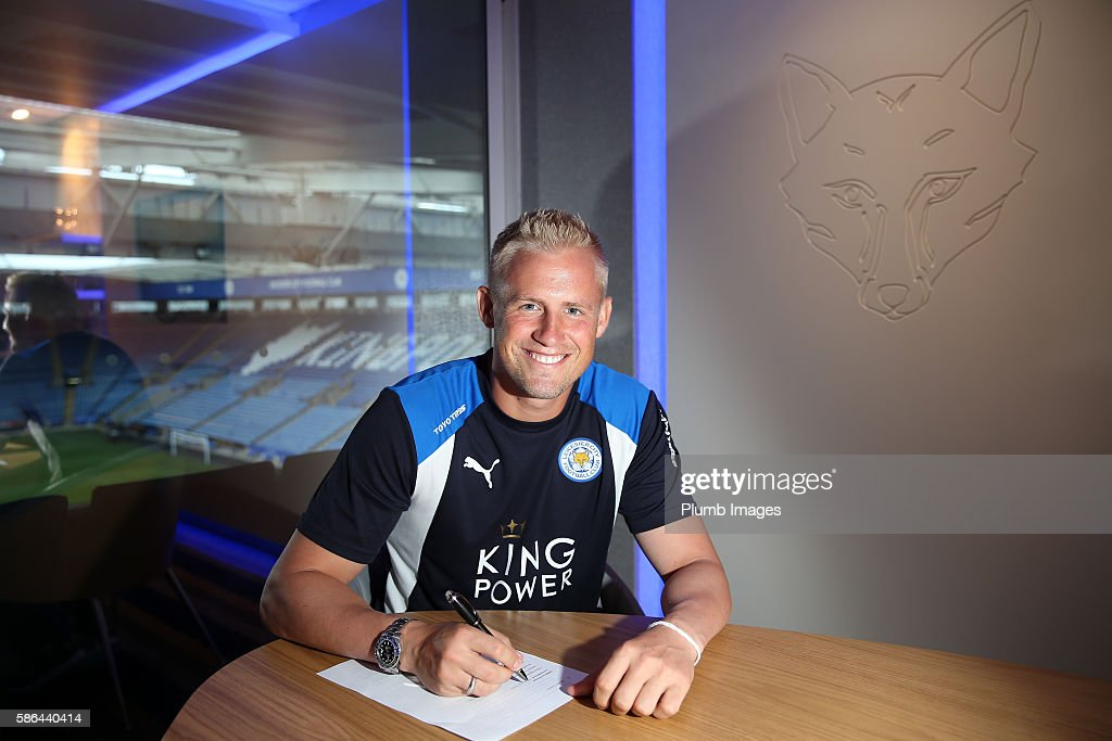Leicester City's Kasper Schmeichel signs a new 5 year contract at King Power Stadium on August 06 2016 in Leicester United Kingdom