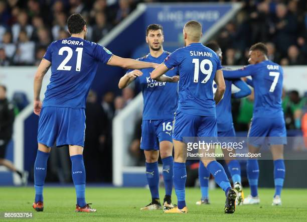 Leicester City's Kelechi Iheanacho celebrates scoring his side's first goal during the Carabao Cup Fourth Round match between Leicester City and...