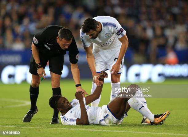Leicester City's Kelechi Iheanacho lies injured during a pre season friendly match at the King Power Stadium Leicester
