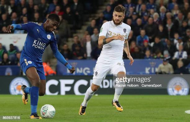 Leicester City's Kelechi Iheanacho scores his side's first goal during the Carabao Cup Fourth Round match between Leicester City and Leeds United at...