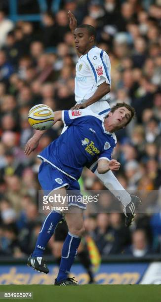 Leicester City's Lathaniel RoweTurner and Leeds United's Fabian Delph battle for the ball during the CocaCola League One match at Elland Road Leeds