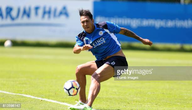 Leicester City's Leo Ulloa during the Leicester City PreSeason tour of Austria at Velden Training Facility on July 11 2017 in Velden Austria