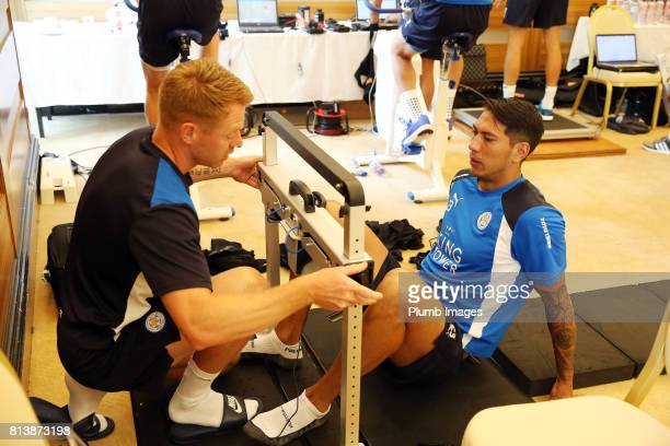 Leicester City's Leo Ulloa during the Leicester City PreSeason tour of Austria at Velden Training Facility on July 13th 2017 in Velden Austria