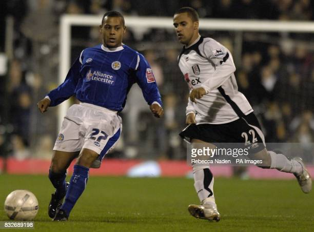 Leicester City's Levi Porter and Fulham's Wayne Routledge in action