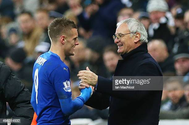 Leicester City's manager Claudio Ranieri congratulates Jamie Vardy of Leicester City during the Barclays Premier League match between Newcastle and...