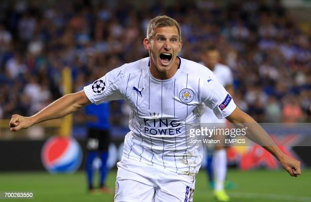 Leicester City's Marc Albrighton celebrates scoring his side's first goal