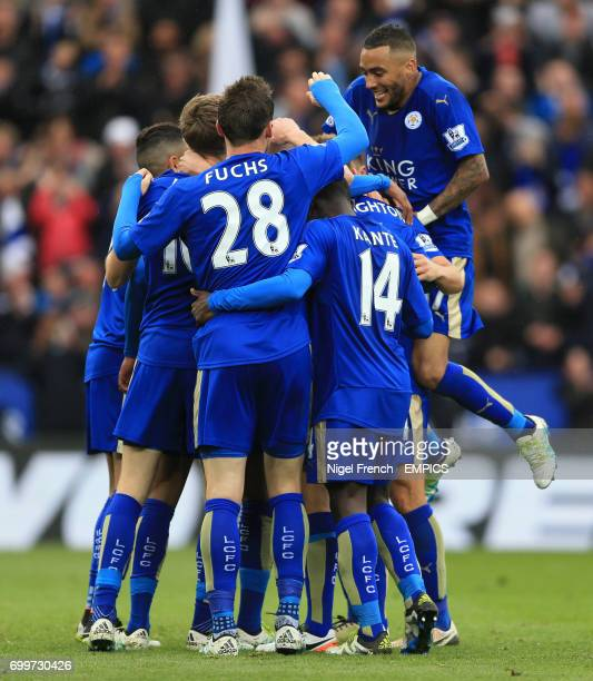 Leicester City's Marc Albrighton celebrates scoring his side's fourth goal of the game against Swansea City's