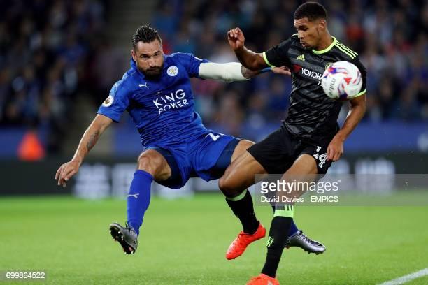 Leicester City's Marcin Wasilewski and Chelsea's Ruben LoftusCheek
