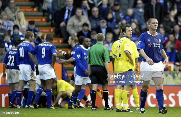 Leicester City's Matt Elliott is sent off against Birmingham City during the Barclaycard Premiership match at the City Ground Leicester THIS PICTURE...