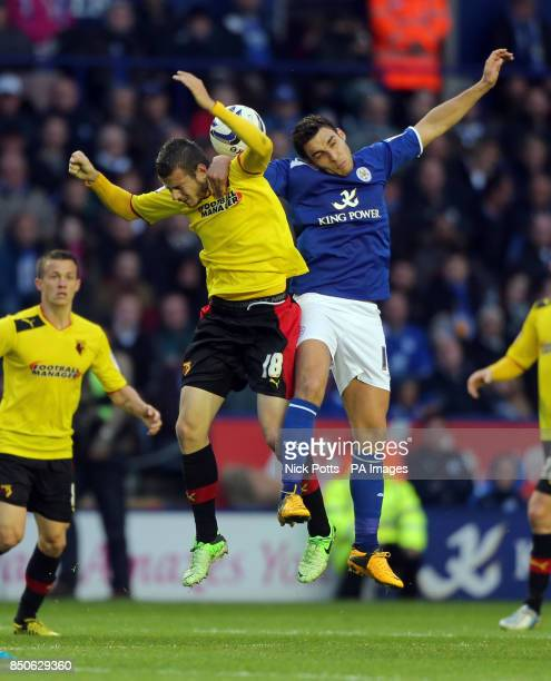 Leicester City's Matty James and Watford's Daniel Pudil during the npower Championship PlayOff Semi Final First Leg match at the Walkers Stadium...