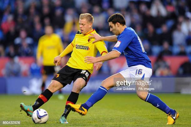 Leicester City's Matty James and Watford's Matej Vydra during the npower Championship match at the King Power Stadium Leicester