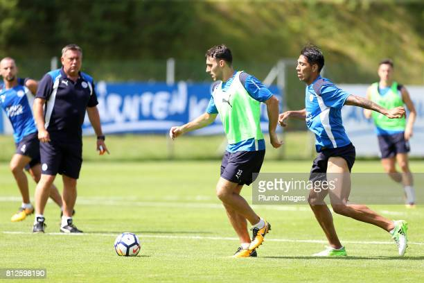 Leicester City's Matty James under pressure from Leo Ulloa during the Leicester City PreSeason tour of Austria at Velden Training Facility on July 11...