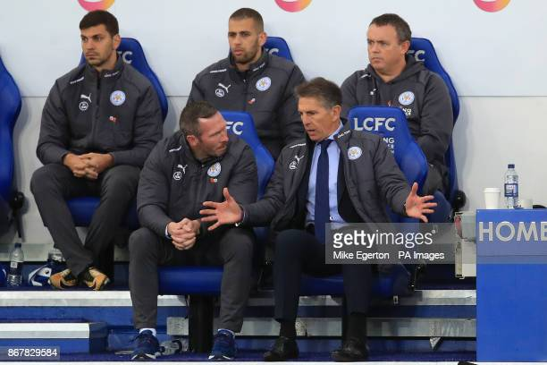 Leicester City's new manager Claude Puel and coach Michael Appleton during the Premier League match at the King Power Stadium Leicester