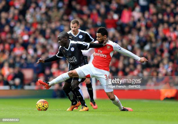 Leicester City's N'Golo Kante and Arsenal's Francis Coquelin battle for the ball